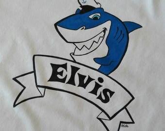 Shark tshirt, nautical t-shirt, sailor shirt, surf tshirt, hand painted tshirt, cotton tshirt, custom t-shirt with name