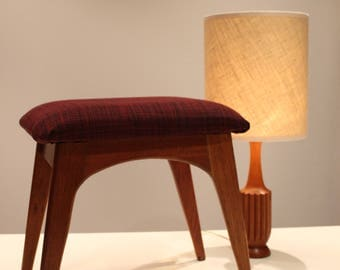 Mid Century Blackwood, Upholstered Stool