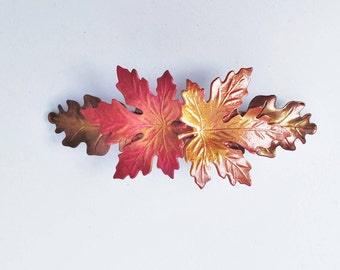 Leaf Hair Barrette, Maple and Oak Leaves