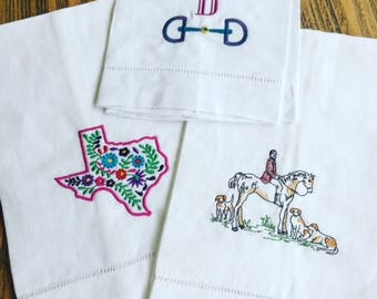 Hunt Club Embroidered Guest Towel