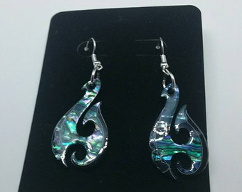 0275-Paua(Oyster shell) Fishhook Earrings