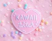 Kawaii Bitch Heart Iron On Patch