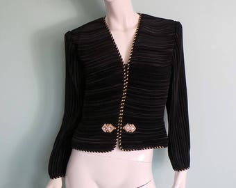 80s Gina Bacconi Black Pleated Evening Jacket with Pearl & Rhinestone Buckle, Black Short Crimped Jacket with Braiding, 39in Bust, Medium