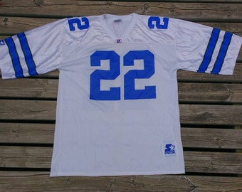 Vintage 90's Emmitt Smith Starter Dallas Cowboys Made in USA large white jersey