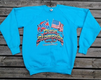 Beautiful Vintage 80's / 90's Dolly Parton's Dixie Stampede, Pigeon Forge, TN / Baby Blue Crew-neck Sweatshirt Made in USA Women's XL