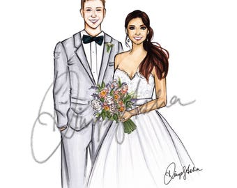 Wedding Portrait, Couple Portrait, Custom portrait, Wedding invitation, Wedding gift, Custom Wedding Portrait, Custom Couple Portrait