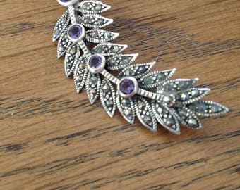 Amethyst and Marcasite Sterling Silver Feather Brooch