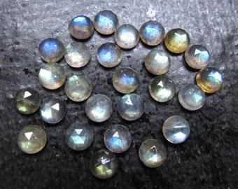 25 Pieces 5mm LABRADORITE Round Rose Cut Gemstone, 5mm Labradorite Rose Cut Round Cabochon Gemstone, Labradorite Flat Back Rosecut Cabochons