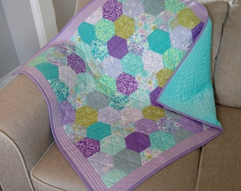 Periwinkle Hexi Baby Quilt or Blanket with Minky Backing