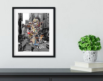 Printable, New York City, Times Square, 8x10, Geometric Art, Black and White, NYC Print, Home Decor, Instant Download