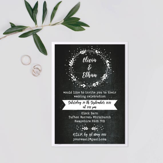 Garden wedding invitation set, Rustic wreath wedding invitation suite, Rustic barn wedding invitations UK, Outdoor wedding invites, A6