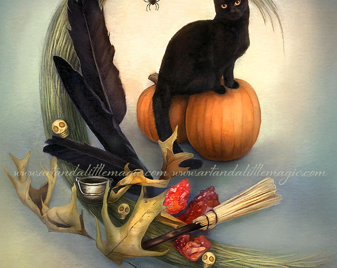 Featured listing image: Shadow by Leanne Peters - Halloween Art - Black Cat Art - Fantasy Art