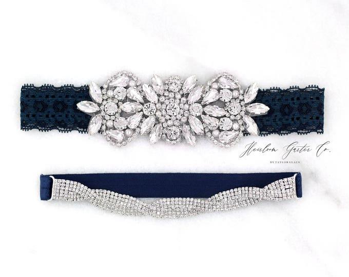Navy Wedding Garter, NO SLIP Lace Wedding Garter Set, Blue bridal garter set, vintage rhinestones, pearl and rhinestone garter set