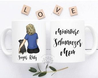 Personalized Miniature Schnauzer Mug, Miniature Schnauzer Mug, Miniature Schnauzer Gift, Miniature Schnauzer Mom Gift, Schnauzer Mom Mug