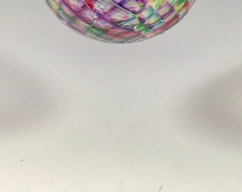 Hand Blown Glass Ornament:  Rainbow Blend Faceted Sphere