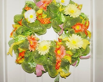 Summer wreath spring wreath lime green wreath green orange wreath