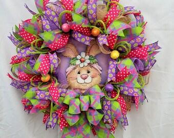 Bunny Wreath, Bunny Wreath for Front Door, Spring Wreath , Easter Wreath, Spring Mesh Wreath, Spring decor, Easter Decoration for Door