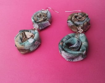 Floral Fabric Spiral Dangle Drop Earrings