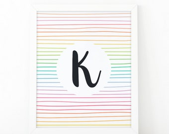 Letter K, Initial wall art, Colorful  Stripes, initial Printable, Colors, Nursery Initial Print, Instant download, initial print, printable