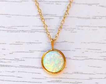 white winter necklace, white opal necklace, opal jewelry, opal gold necklace, round opal necklace, Bride gold necklace, opal gold pendant