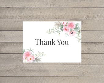 Printable Floral Wedding Thank You, Shabby Chic Watercolor Floral Thank You Card, Printable Thank You Card, Peonies Thank You Card, Digital