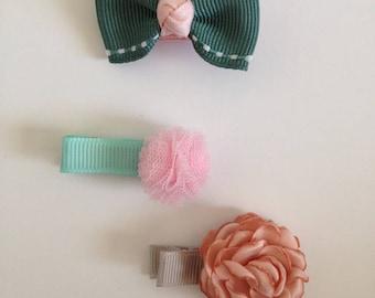 Baby Girl Hair Clip Set, Baby Hair Clip, Newborn Hair Clip, Baby Bow Hair Clip, Pink Baby Hair Clip, Pink Hair Hair Clip. Hair Clip Set
