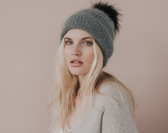 Mohair Knit Hat // Dark Grey Hat with Faux Fur Pom Pom//Dark Grey Colour