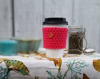 Hot Pink Crochet Cup Sleeve - Island Tourist Button Everyday Cup Sleeve in Hibiscus