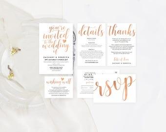 Rose gold invite set, Rosegold wedding invitation template download, Rose gold wedding stationery, Rose gold wedding invitation PDF download