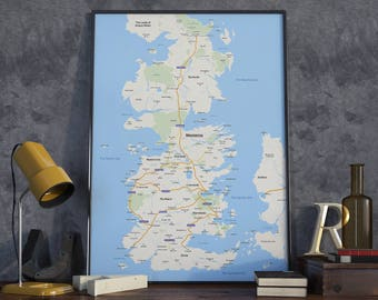 Westeros 2017 Map - Poster - Game of Thrones / Google Maps Mashup - Art Print, Cartography, Fan Art, Apple Maps, GPS