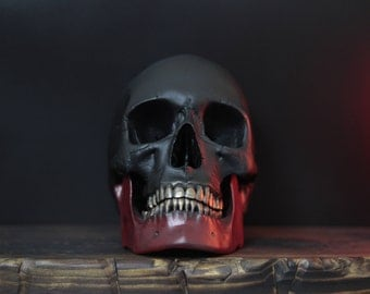 The Crimson Jaw - Matte Black & Red Life Size Realistic Faux Human Skull with Gold Teeth and Removable Jaw / Art / Ornament / Decor
