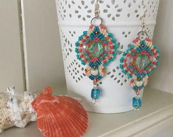 Tropical Sunset - Beautiful glass beaded micro macrame earrings - bohemian - beach - summer - jewellery - gift - original