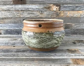 Vintage Hanging Planter Glazed Stoneware