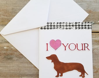 Funny Dog Card - Weiner - Dog Greeting Cards -  Funny Valentine Card - Funny Greeting Card - Valentine Card Boyfriend - Valentine Card Funny
