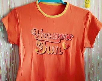 1990s Fun Supercute Orange Crop Top - Kawaii Kids