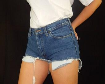 Vintage 90's High Waisted Dark Wash Cutoff Jean Shorts