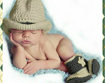 Newborn-3 Months, Cowboy, Crocheted,  Photo Prop with Hat and Boots, Super Adorable!