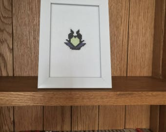 Maleficent Cross Stitch (Completed) / Disney Cross Stitch / Evil Queen Cross Stitch / Custom Made / Framed Art