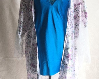 Satin Floral Robe with Lace