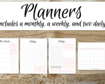 Planners | SOFT PINK | Agenda 2017-2018, Academic Planner, Printable Planner 2017-2018, School Agenda, Planner 2017/2018, MonthWeekDay