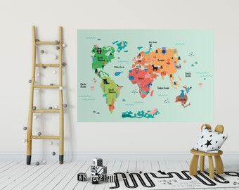 World Map Wall Decal for kids World Map Sticker World Map Poster with animals wall art Removable Chic Scandinavian design Great Gift CCK002A