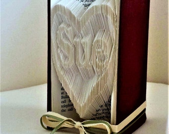 Name in  heart folded book-Books with words-Book folding words-Father's Day gift-Folded book name-Birthday gift-Gift for a special person