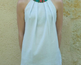 top blue sky, flowers sleeveless neckline