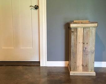 Wood storage bin, rustic, laundry hamper, dog food storage bin, kitchen trash can, primitive potato bin, recycling bin, farmhouse decor,