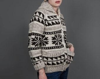 Vintage 70s Cardigan • Hand Knit Sweater • Wool Cardigan • 1970s Sweater • Ethnic Sweater • Beige Cream Brown Wool Sweater • Chunky Cardigan