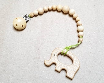 Dummy clip, Organic wooden Teething toy, Wooden pacifier clip, Pacifier holder, Montessori baby toy, Teething beads, Dummy chain, Elephant