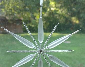Sea Glass Beaded Snowflake Ornament