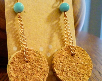 turquoise and wine cork dangle earrings, eo jewelry, essential oil earrings, wine cork earrings, copper and turquoise dangle earrings,