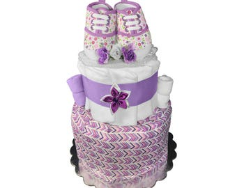 Baby Shower Gift - Diaper Cake for a Girl - Purple Shoes Centerpiece