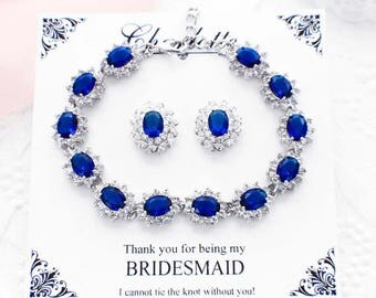 Crystal bridesmaid jewelry set, something blue, rhinestone jewelry set, rhinestone bridal bracelet, crystal stud earrings, crystal bracelet